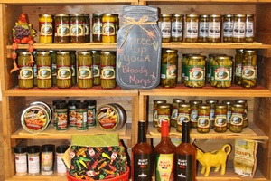 Display of sauces and spices